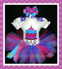 Custom baby or toddler girl appliqued puff sleeved shirt, tutu, and hair bow - Purple, Aqua, & Pink Sparkly Cake Birthday Tutu Outfit