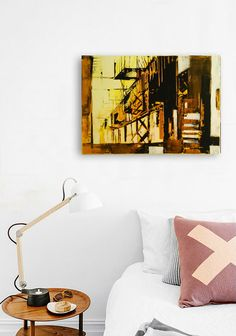 FREE SCHIPPING Abstract painting Industrail town. by INKAARTSHOP