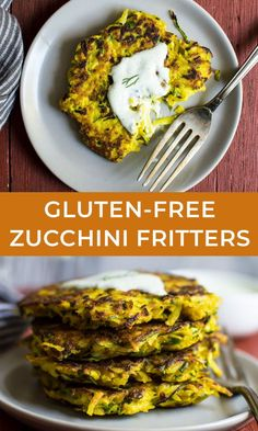 These 8-ingredient fritters are easy to make, and they're great as an appetizer.  #glutenfree #potato #zucchini #fritters Healthy Gluten Free Recipes, Easy Delicious Recipes, Healthy Breakfast Recipes, Tasty, Gluten Free Zucchini Fritters, Potato Fritters, Appetizer Recipes, Potatoes, Cooking Recipes