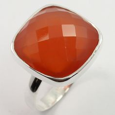 Trendy Ring Size US 6.75 Real CARNELIAN Gemstone 925 Sterling Silver ! Love Gift #SunriseJewellers #Fashion