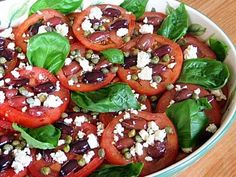 Sliced Tomato, Olive and Goat Cheese Salad with Onion-Caper ...