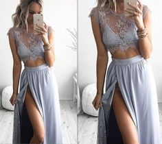 Formal Dresses Prom Dress Lace Prom Dress, Two Piece Prom Dress,Sexy Prom Dress Blue High Slit Sexy Two Piece Evening Dresses, Prom Dresses Two Piece, Prom Dresses 2016, Elegant Prom Dresses, Prom Dresses For Sale, Prom Dresses Blue, Prom Gowns, Party Dresses, Evening Gowns