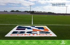 Proyecto de Futbol Soccer realizado en Guerrero Negro, B.C.S. (México), en el cual se fabricaron desde nuestra planta 9,200 m² de Pasto Sintético. Además se fabricó pasto sintético de color para realizar el logotipo del Estado de BCS