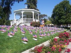 Benicia, CA - the gazebo on Main St, 9/11 annual flag memorial