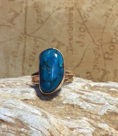 Gorgeous Freeform Turquoise and Gold Stacking Ring. by Jewelriart