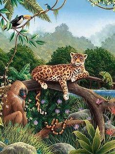 Rain Forest Rainforest Wild Jungle Animals PrePasted Wallpaper Wall Mural