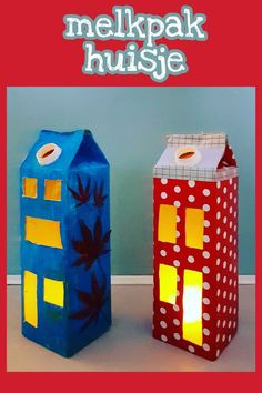 Crafts for Sinterklaas and Christmas: making houses from a milk carton - Crafts for Sinterklaas and Christmas: making houses from a milk carton, December cottage - Diy Christmas Videos, Christmas Crafts, Xmas, Modern Christmas, Scandinavian Christmas, Christmas Christmas, Diy For Kids, Crafts For Kids, Paper Toy