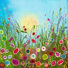 Yvonne Coomber creates glitter and colour filled paintings of wildflower landscapes. Whimsical Art, Art Plastique, Love Art, Painting Inspiration, Painting & Drawing, Art Projects, Art Gallery, Artsy, Artwork