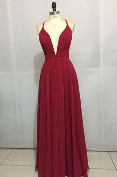 Sexy Chiffon Prom Dress, Burgundy Prom Dress, Long