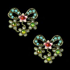 Michal Negrin Gold Multi Coloured Bow Earrings (156562/1) | Alexandra May