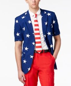 OppoSuits Men's Stars and Stripes Slim-Fit Suit & Tie - Misc. 48