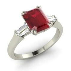 Rings - Enit - Ruby Ring in 14k White Gold with VS Diamond (1.45 ct.tw.)