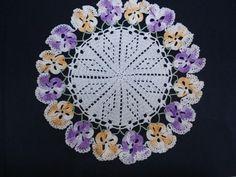 🌺 Toalha Amor-Perfeito de Crochê Padrão Colorida Clássica -  / 🌺 Towel Pansy to  Crocheted Default Vintage Multi Color -