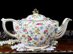 James Sadler Chintz Teapot - Shabby Wildflowers Transferware 12764 - The Vintage Teacup - 2