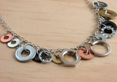 Necklace made with washers and other industrial metal bits. Yes!