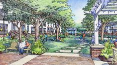 Color Architectural Rendering of Park for Pleasanton Project