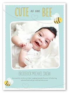 Cute As Can Bee Boy 5x7 Stationery Card by Paper Plains. Announce your newest arrival with this stylish birth announcement. Add  your baby's name, a favorite photo and the news everyone's been waiting for.