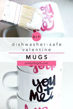 These DIY #LoveYou coffee mugs are dishwasher safe and so easy to make! They're the perfect handmade gift for Mother's Day, Father's Day, Valentines, birthday or any time! Use vinyl letters and coat with Mod Podge. The Pretty Life Girls #modpodge #vinylcrafts #vinylprojects #cricut #silhouette #plaidcreators #diyproject #craftidea #easycraft #howtomake #vinyl #silhouette Fun Valentines Day Ideas, Easy Valentine Crafts, Valentines Gifts For Him, Diy Vinyl Projects, Cool Diy Projects, Cute Kids Crafts, Easy Crafts, How To Make Diy
