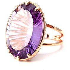 Geraldine Valluet - Ring Antoinette Collection Pink Gold Amethyst... ($5,615) ❤ liked on Polyvore featuring jewelry, rings, diamond jewelry, fine jewelry, rose gold diamond ring, pink sapphire gold ring and amethyst rings