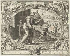 Gerard P. Groenning | De mens op tachtigjarige leeftijd, Gerard P. Groenning, 1569 - 1575 | In een ovaal kader versierd met ornamenten een voorstelling van een oude man die twee jongeren vermanend toespreekt. In zijn hand een stok en een rozenkrans. De twee jongeren hebben kolven vast en rennen richting een bevroren rivier. Links op de achtergrond een uil. De prent heeft een Latijns en Frans onderschrift.