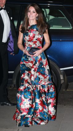The Duchess of Cambridge was truly hard to miss, wearing an eye-catching sleeveless floral gown by London-based brand Erdem. According to Tesouras and Tiaras, the print was inspired by 1960s Japanese graphics.