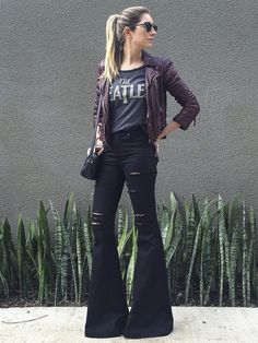 I like that she showed you can style bellbottoms to look more edgy and not the usual boho-vibe