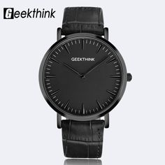 Find More Quartz Watches Information about GEEKTHINK Minimalist Top Brand Luxury Quartz watch men Business Casual Black Japan quartz watch genuine leather ultra thin clock,High Quality leather laces,China leather boots for men Suppliers, Cheap leather glitter from Geekthink Franchise Store on Aliexpress.com