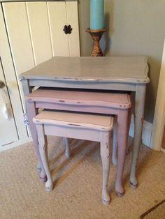 Autentico mauve faux, soft mauve and concrete nest of tables finished in white wax x love love love xx