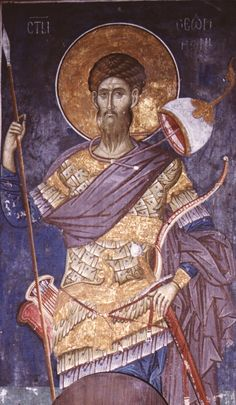 """St. Theodore had already prayed his last prayer to God, saying, """"Remember me, O Lord, for thy sake I have undergone the cross, iron and fire, and nails for the rise of thee."""" But God, in His great mercy, wished that the death of St Theodore would also be fruitful for his neighbors, like the rest of his life: He healed the mangled body of the saint and brought him down from the cross on which he had been left on all night. In the morning the king's soldiers found St. Theodore alive and well."""