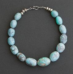 Turquoise Statement Necklace Large chunky by AngelaLovettDesigns