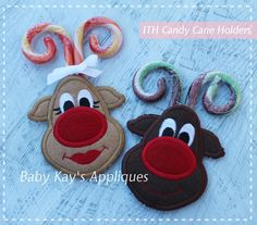 Baby Kay's Appliques - In The Hoop Reindeer Candy Cane Holders, $5.00 (http://www.babykaysappliques.com/in-the-hoop-reindeer-candy-cane-holders/)