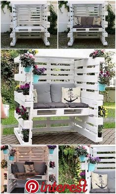 Wood Pallet Enclosed Seating Area with Comfy Cushions – Garden Furniture – Garden Projects Diy Garden Furniture, Diy Pallet Furniture, Diy Pallet Projects, Outdoor Projects, Rustic Furniture, Furniture Ideas, Antique Furniture, Wood Projects, Furniture Stores