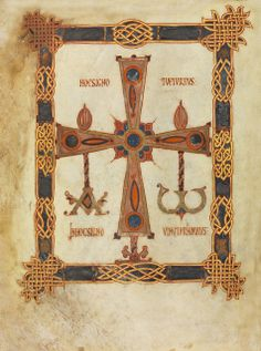 Eclectic historic science and art images from rare books and prints Medieval Books, Medieval Manuscript, Medieval Art, Illuminated Manuscript, Early Middle Ages, Book Of Kells, Holy Cross, Celtic Art, 11th Century
