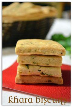 Khara/Spicy/Masala Biscuits ~ Nalini'sKitchen Eggless Recipes, Eggless Baking, Savoury Baking, Baking Recipes, Cookie Recipes, Snack Recipes, Cupcake Recipes, Bread Recipes, Vegan Recipes