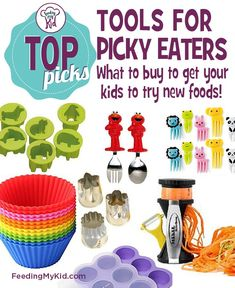 Picking Eating Tools. Using some of these tools for picky eaters, can add a layer of interaction to the food and make eating more fun. In turn this can lower your child's guard and increase his likelihood of trying the new food. Kids learn best through play, so why not encourage your child to play with his or her food? Check out our top picks for Picky Eating Tools to find out how to get your child to eat more healthy foods.