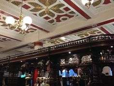 Intricate roof decorations above the barkeeps' island at the Abbotsford Bar (Edinburgh)