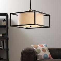 Drum 3-light Dark Bronze Metal Frame Pendant    Overstock.com Shopping - The Best Deals on Chandeliers & Pendants