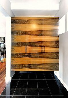 Graphic wood veneer cabinets!
