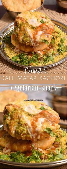 Tangy spicy Indian Chaat! Yogurt with Peas Kachori (Dahi Matar Kachori) Chaat