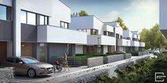 3th stage of Mamurowe Housing Estate in Lodz / Drugi etap osiedla Marmurowe to trzy nowoczesne budynki w zabudowie bliźniaczej, w których zaprojektowano po cztery niepowtarzalne i komfortowe mieszkania, wyposażone w przestronne tarasy i ogrody. Każdy z apartamentów posiada osobne wejście i wjazd oraz garaż wbudowany w bryłę budynku, dzięki usytuowaniu na wewnętrznej działce z dostępem z dwóch równoległych ulic wewnętrznych. Semi Detached, Detached House, Home Fashion, Mansions, House Styles, Home Decor, Decoration Home, Manor Houses, Room Decor