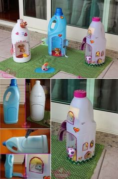 I recycled some Coke plastic bottles into a fairy house lamp. Materials used: plastic bottles, tin foil, paint, hot glue and paper clay.DIY Plastic Bottle Doll Houses These are cute. Some day Ava and I will make theseTake a glimpse at these incredibl Plastic Bottle Crafts, Recycle Plastic Bottles, Plastic Plastic, Diy Bottle, Plastic Containers, Water Bottle, Diy And Crafts, Craft Projects, Crafts For Kids