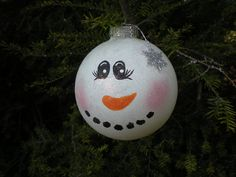 Snowman Glass Ball Ornament by OccasionalGifts on Etsy, $12.00