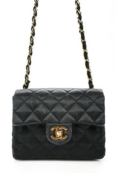 822f97957de1 Chanel Womens Mini Flap Crossbody Handbag Black Quilted Satin Friday,  Shoulder Bag, Satin,
