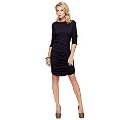 HotSquash Black ruched dress in clever fabric | Debenhams