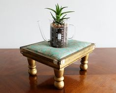 Vintage Padded Stool / Ottoman with Teal by collectorsandcompany, $36.00