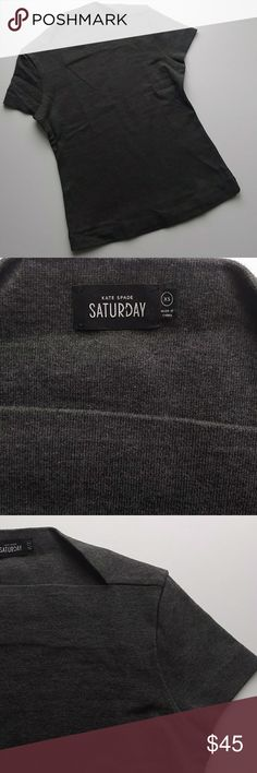 """Kate Spade Saturday Cap Sleeve Gray Top - XS Kate Spade Saturday dark charcoal gray top with cap sleeves and a slip neck. Size - XS. 100% cotton. This is a classic top in great shape! **Please note the last photo shows the shirt in a different color...the color I have available is the gray one from the first 7 images. Lay flat measurements: Shoulder: 14"""" Chest: 33"""" Length: 22.5"""" Questions? Just ask! kate spade Tops"""