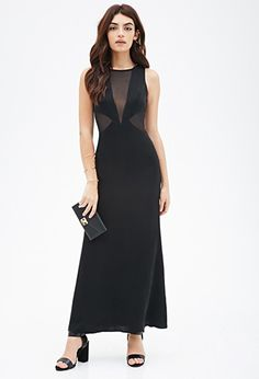 Mesh-Paneled Maxi Dress | Forever 21 - 2000081804 in Black/Black
