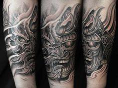 Black and Gray Tattoo Samurai - Dragon