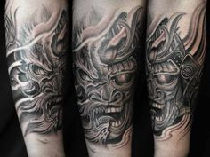 Black and Gray Tattoo Samurai - Dragon