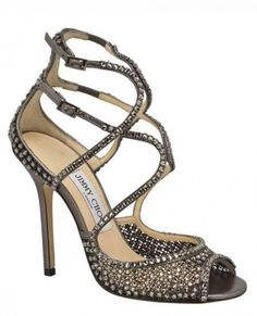 Modern Strappy Rhinestoned Jimmy Choo Wedding Shoes